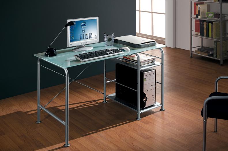 Scrivania tavolo porta pc computer ripiano in vetro ebay - Tavolo porta pc ...